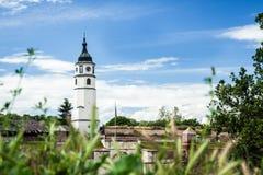 在Kalemegdan的Sahat塔在贝尔格莱德,塞尔维亚 免版税库存图片
