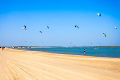 在Kalpitiya海滩的Kitesurfers 库存照片