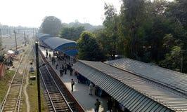 在Kalyani,西孟加拉邦的Kalyani火车站 免版税库存图片