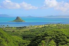在Kane'ohe海湾,奥阿胡岛,夏威夷的华人的帽子 免版税库存照片