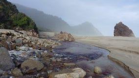 在Karamea,新西兰附近的有薄雾的海滩 免版税库存图片