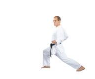 在karategi,一个人做一个块用他的手 库存图片