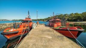 在Karlshamn的海海湾的领航船 库存照片