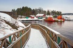 在Karlshamn附近的波罗的海海岸在冬天 免版税库存照片