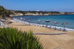 在Karpasia -土耳其语塞浦路斯的海滩 免版税库存照片