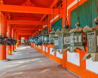 在Kasuga Taisha寺庙的台阶在奈良 免版税库存图片
