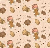在kawaii样式传染媒介的巧克力无缝的背景 库存例证