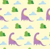 在kawaii样式传染媒介的恐龙无缝的背景 库存例证