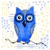 在kawaii样式的卡通人物与一头猫头鹰的图象在抽象背景的 设计墙纸,印刷品,盖子,着色 库存例证