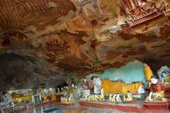 在Kawgun洞里面的美丽的景色在Hpa-An,缅甸 库存照片