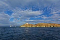 在Kea海岛的灯塔 免版税库存照片