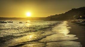 在Kefalonia的美好的日落 免版税库存图片