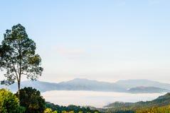 在Khao在Kaeng Krachan国家公园的Panoen Thung的早晨薄雾 库存图片