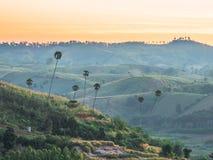 在Khao Kho,泰国的美好的早晨山景 免版税库存图片
