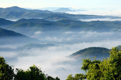 在Khohong小山的早晨 免版税库存照片