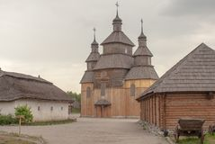 在Khortytsya扎波罗热乌克兰海岛上的哥萨克教会  库存图片