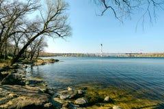 在Khortytsya海岛上的海岸  库存照片