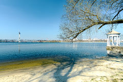 在Khortytsya海岛上的海岸  免版税库存照片