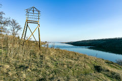 在Khortytsya海岛上的监视塔  库存照片