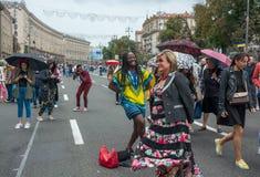 在Khreshchatyk街的美国独立日在Kyiv,乌克兰 社论 08 24 2017年 库存图片