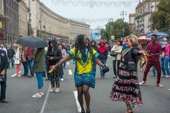 在Khreshchatyk街的美国独立日在Kyiv,乌克兰 社论 08 24 2017年 免版税库存图片
