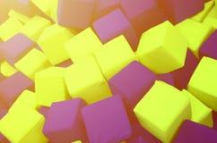 在kids& x27的许多五颜六色的软性块;在操场的ballpit 免版税库存照片