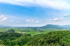从在kikuchi城堡附近的美丽的景色在熊本perfecture,日本 免版税库存图片