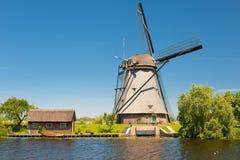 在Kinderdijk的风车在5月 库存照片