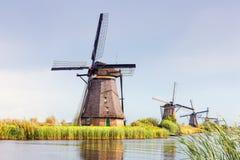 在Kinderdijk的风车,荷兰 免版税库存照片