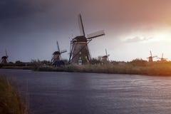 在Kinderdijk的风车 图库摄影