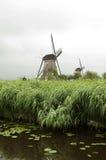在Kinderdijk,荷兰的风车 免版税图库摄影