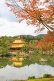 在Kinkakuji寺庙或金黄亭子,北京都,日本的秋天 库存图片