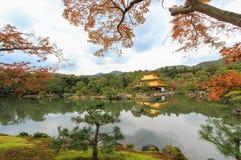 在Kinkakuji寺庙(金黄亭子),北京都,日本的秋天 库存图片
