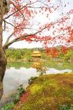 在Kinkakuji寺庙(金黄亭子),北京都,日本的秋天 免版税库存图片