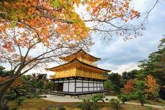 在Kinkakuji寺庙(金黄亭子),北京都,日本的秋天 库存照片