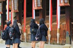在Kitano Tenman顾寺庙京都的visiter 库存照片
