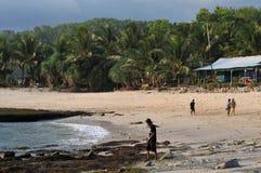 在Klayar海滩的Vacatin, Pacitan 免版税图库摄影