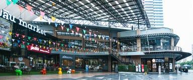 在Kluaynamthai路,曼谷泰国, 2017年12月16日的商城 免版税库存照片