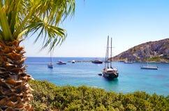 在Knidos古老海湾, Datca半岛的小船 库存照片