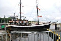 在KoÅ 'obrzeg的旅游船 库存图片
