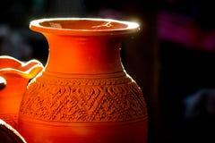 在Ko Kret的泰国样式陶器Nonthaburi省的,泰国 库存照片