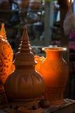 在Ko Kret的泰国样式陶器Nonthaburi省的,泰国 库存图片