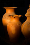 在Ko Kret, Nonthaburi,泰国的泰国样式陶器 免版税库存图片
