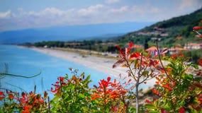 在Kokkino尼罗Velika和拉里莎海滩附近的海 库存照片