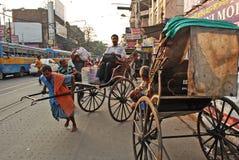 在Kolkata的人力车 图库摄影