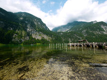 在Konigsee湖,贝希特斯加登的Salet口岸 免版税图库摄影