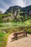 在Konigssee湖,阿尔卑斯,德国的小长木凳 库存照片