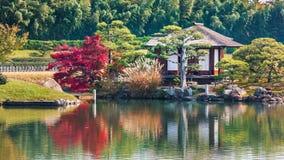在Koraku en庭院的石马Jaya茶馆在冈山 免版税库存图片