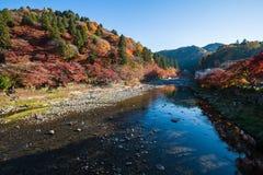 在Korankei - Asuke,日本的五颜六色的山 免版税库存照片
