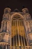 在Korenmarkt的夜视图在跟特, 2017年11月5日的比利时 图库摄影